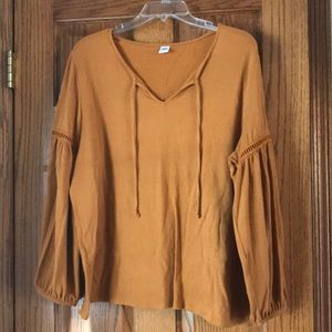 Camel colored peasant top